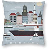 DayToy Art Style Hamburg Deutschland Skyline World Travel Poster 1 Pack Dekokissen Home Decor Couch...