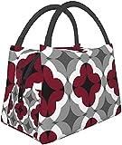 Loncheras abstractas patrón de trébol floral en rojo y gris aislamiento portátil bolsa de almuerzo caja contenedor con cremallera