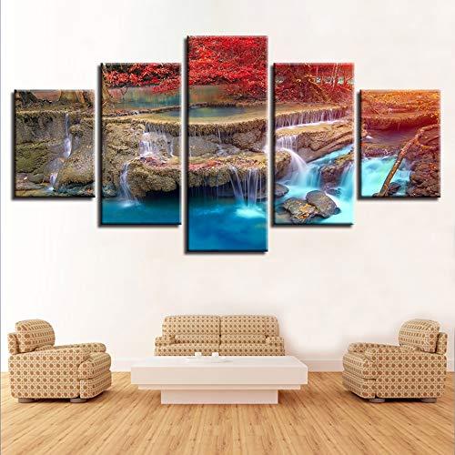 HNTHBZ Moderna Lienzo Pintura Modular Lona Poster de 5 Piezas de árbol roja cascadas Naturales Pintura del Paisaje de la decoración de la Sala Pared Bellas Artes