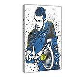 Tennis-Sport-Poster Novak Djokovic 06, Leinwand-Poster,