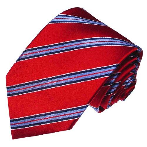 Lorenzo Cana - Marken Krawatte aus 100{5202f1c5c0d21af184d1ba83c21f1c5a12b5cf74713d4fa1efce7748389805a1} Seide - Rot Blau Weiss Streifen - 84234