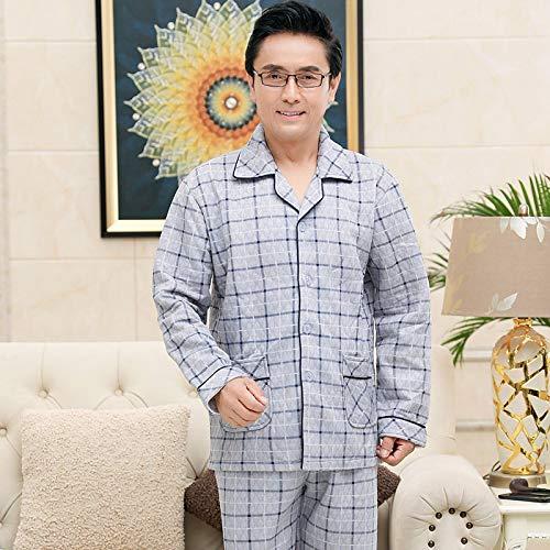 DFDLNL Pantalones de Manga Larga de otoño e Invierno de 100% algodón para Hombre, Traje de Pijama Fino de 3 Capas, Ropa de Dormir Acolchada, Conjunto de Ropa a Cuadros XXL