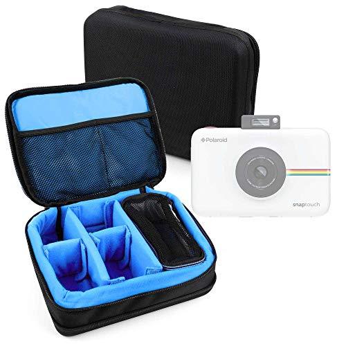 DURAGADGET Bolsa Acolchada Profesional Negra con Compartimentos e Interior en Azul clarito para Cámara Polaroid Snap Touch 2.0