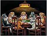 Pintura al óleo 60x80 cm sin marco perro abstracto jugando a las cartas impresión pintura al óleo ca...
