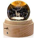 Yibaision オルゴール クリスタル ボール 間接照明 LEDプロジェクターライト付き&高級感のある木製土台 ベッドサイドランプ ロマンチックな雰囲気 クリスマス/ 誕生日/結婚記念/卒業/出産祝いなどのお祝い お子さん・彼女・文愛好家にプレゼント USB充電式 癒しグッズ ( ヘラジカ-曲目:君をのせて)