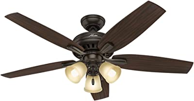 """Hunter Fan Company 53317 Newsome Ceiling Fan With Light, 52"""", Premier Bronze"""