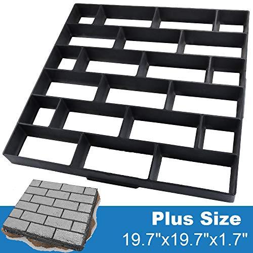 CJGQ Plus Size 19.7'x19.7'x1.7' Concrete Molds Walk Maker Reusable Path Brickform Stepping Stone Paver Lawn Patio Yard Garden DIY Walkway Pavement Moulds (Cross Bricks)