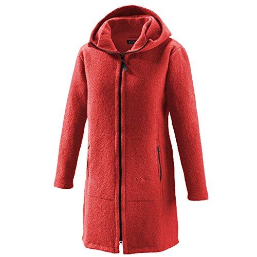 Mufflon Damen-Woll-Kurzmantel Mu-Jana mit Kapuze Vulkan rot - L