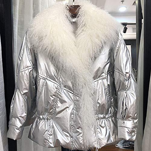 YRFDM Daunenjacke,Kragen weiße Daunenjacke Frauen Wintermantel 2019 glänzend Puffer Jacken und Mäntel für weibliche Parkas, Silber, S