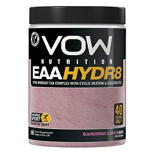 Vow EAA Hydr8 - Essential Amino Acids, BCAAs, Electrolytes, Hydration Energy Intra Workout Drink Informed Sports (Blackcurrant and Apple)