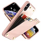 LAMEEKU Wallet Case for Apple iPhone Xs/iPhone X 5.8'', Protective Leather Cases with Credit Card Holder Case Money Pocket, Shockproof TPU Bumper Phone Cover Compatible with iPhone Xs/X - Rose Gold