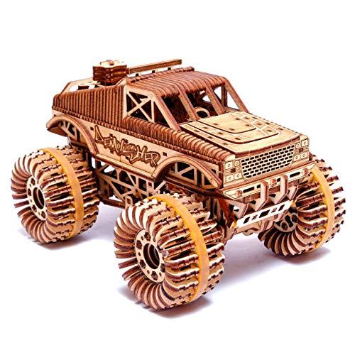 Wood Trick - mechanisches Modell aus Holz Monster Truck | Montertruck aus Holz | Holzbausatz Truck für Erwachsene| Modellbau ohne Klebstoff - 556 Teile
