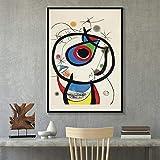 zuomo Pinturas artísticas Modernas del surrealismo de Joan Miro Cuadro Abstracto Pintura en Lienzo Retro Póster Arte de la Pared para la Sala de Estar Decoración del hogar 50X70cm Sin Marco