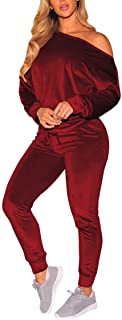 Selowin Women Off One Shoulder Two Piece Casual Jogger Sweatsuit Velvet Tracksuit Sets