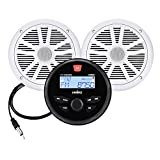 Marine Audio System Stereo Speaker Package, Bluetooth, MP3 USB AM FM Marine Stereo