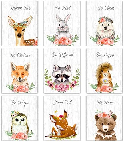 9 Pieces Woodland Nursery Wall Art Prints Cute Woodland Floral Crown Animals Motivational Posters product image