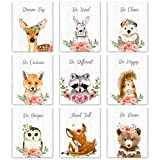 Outus 9 Pieces Woodland Nursery Wall Art Prints Cute Woodland Floral Crown Animals Motivational Posters Pictures Wall Decor for Baby Kids Room Home Decorations (Unframed, 8 x 10 Inch)