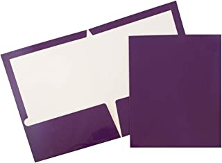 JAM PAPER Laminated Two Pocket Glossy Folders - Purple - 6/Pack