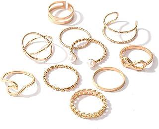 VFlowee Boho Pearl Knuckle Rings Set 8 أشكال خمر خواتم الإصبع الذهبية خواتم ميدي مشترك للنساء اكسسوارات الأظافر (10 قطع)