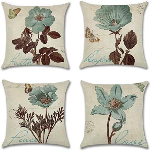 Pillow Covers Case Cotton Linen Pillow Covers Square Pillowcase Flower Cushion Cover For Living Room Sofa Couch Bed Pillowcases 4 Pcs 50X50Cm (With Invisible Zipper)