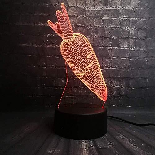 Luz de noche 3D Lámpara de ilusión Zanahoria Conejo Flash Base USB Dormitorio Luz de sueño 7 Cambio de color Niño Niño Regalo de Navidad Juguetes Escritorio Luz de mesa
