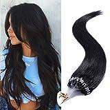 45cm - Extensiones de Nano Micro Loop Anillos Pelo Natural 100% Cabello Humano [0.5g*100pcs] Remy Human Hair - 1# Negro Azabache