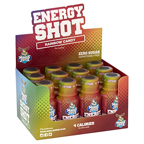 Muscle Moose – Moose Juice Energy Shots | Caffeine Drink, BCAA & B Vitamins, Zero Sugar, Aspartame-free, Rainbow Candy, 60ml (12 Shots)