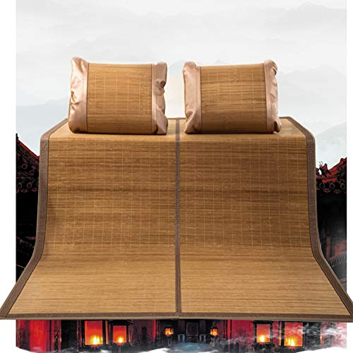 YJFENG Mat, Bamboo Mat Carbonation Three-piece Set Fold Double-sided Mat Two-piece Single-double Student Dormitory (Color : B Brown, Size : 180X200CM)