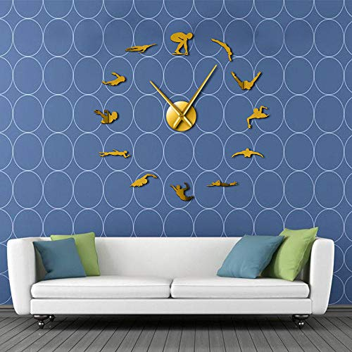 KKLLHSH Swimming DIY Large Wall Clock with Swimmer Mirror Sticker Pool Wall Art Decorative Wall Watch Swimmer Gift-37_Inch