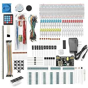 DEYUE 398 Electronic Starter Fun Kit Bundle | Basic Electronics Components Starter Kit | for Arduino, Raspberry Pi, STM32 | Power Supply Module, Power Adaptor, Jumper Wire