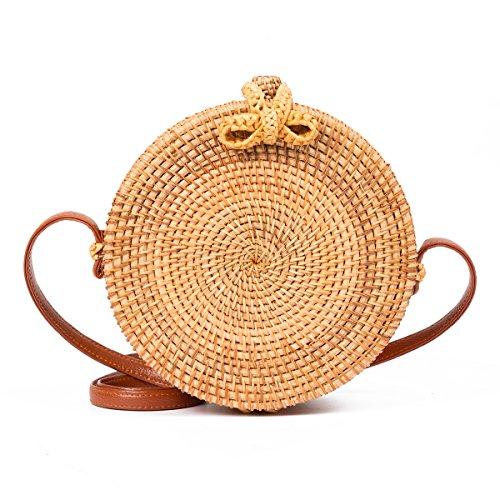 Tick Tocking Moda bolso de paja redondo bolsos mujeres verano bolsa de ratán tejidas a mano bolso de playa para las mujeres bolsa