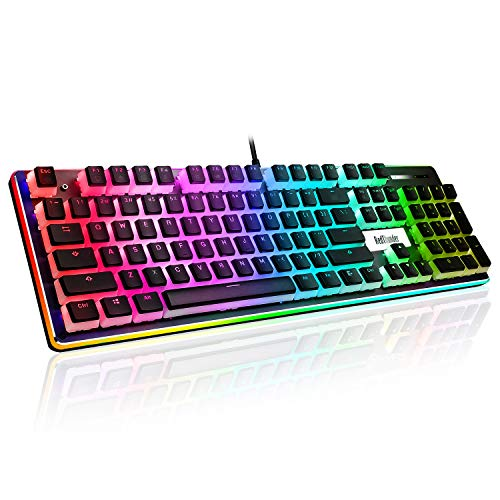RedThunder Mechanical Gaming Keyboard, PBT Pudding Keycaps, RGB Backlit and Surround Llighting, Red Switches, Ultra-Slim Quiet Ergonomic Water-Resistant USB Wired Keyboard for Desktop, Computer, PC