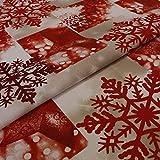 Hans-Textil-Shop Stoff Meterware Schneeflocken Rot - Für