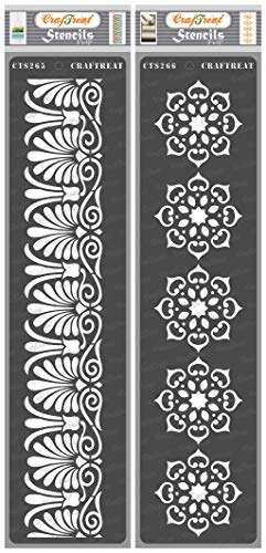 CrafTreat Floral Border Stencils for Painting on Wood, Canvas, Paper, Fabric, Floor, Wall and Tile - Border9 and Border10 - 2 Pcs - 3x12 Inches Each - Reusable DIY Art and Craft Stencils Borders