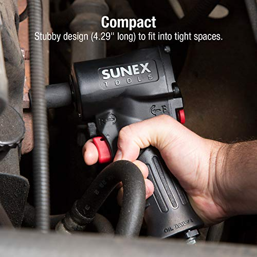 """Sunex SXMC12, 1/2"""" Mini Air Impact Wrench with Grip, Super Duty Compact Design, Lightweight, 500'. Lbs. max Torque, One Hand Operation, Forward/Reverse, 3-Speed Control"""