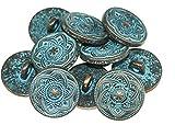 10 Stück Metallknöpfe Wappen 15mm rund rotkupfer Knöpfe Royal Zinklegierung