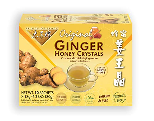 Prince of Peace Instant Ginger Honey Crystals, 10 Sachets – Instant Hot or Cold Beverage for Nausea Relief and Soothes Throat – Easy to Brew Ginger and Honey Crystals – Drink Like a Tea – Caffeine from Prince of Peace