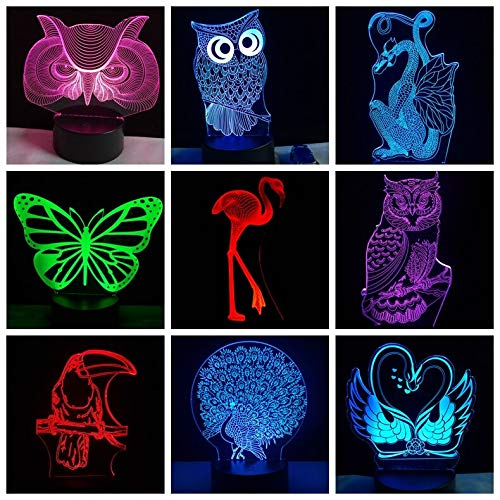 Only 1 Piece 3D OWL Hornbill Cartoon Anime Peacock Creative Night Light LED Colorful Gradient Atmosphere Birthday New Year Gift