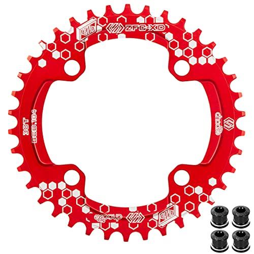EASTERN POWER Plato 38 Dientes BCD 104, Plato BCD 104 Bicicleta Montaña, Aluminio Monoplato 38 Dientes MTB, Rojo