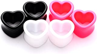 Set of 3 Pairs Acrylic Heart Tunnels - 9/16