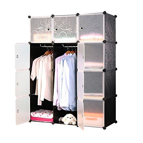 HENGMEI DIY Kleiderschrank Garderobenschrank Steckregalsystem Regalsystem 12 -Kubus Ordnungssystem Schuhschrank Kleiderschrank mit Tür (Schwarz)