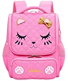 VIDOSCLA Cute Cartoon Cat Face Girls School Backpack Bowknot Primary Schoolbag Bookbag