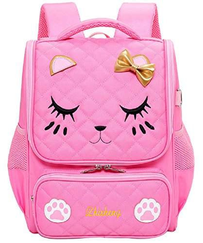 Adanina Cute Cartoon Cat Face Backpack Bowknot Waterproof Elementary School Bag Primary Children's Bookbag for Girls