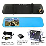 TENNBOO Mount Front and Rear Dash Cam with 4.3' Full HD 1080P Mirror Screen,170°Wide Angle Dual Lens Car DVR and 140°Water-Proof Back Camera,8GB Micro SD Card Included