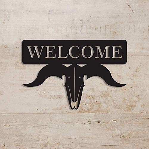 Decoración de pared de calavera de vaca, cartel de bienvenida con calavera de vaca, decoración rústica de pared, señal de bienvenida, señal de bienvenida personalizada, cartel de calavera, 24 pulgadas