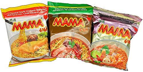 MAMA Ramen Instant Noodles Variety Pack, Chicken, Pa Lo Duck, Tom Yum Shrimp Flavors 30 Pack - Ramen Noodles Bulk - Ramen Soup