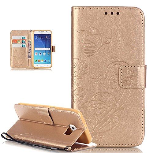 ikasus Compatible avec Coque Galaxy S6 Etui Motif Embosser Fleur Vines Papillons Housse Cuir PU Housse Etui Coque Portefeuille Protection supporter Flip Case Etui Housse Coque pour Galaxy S6,D'or