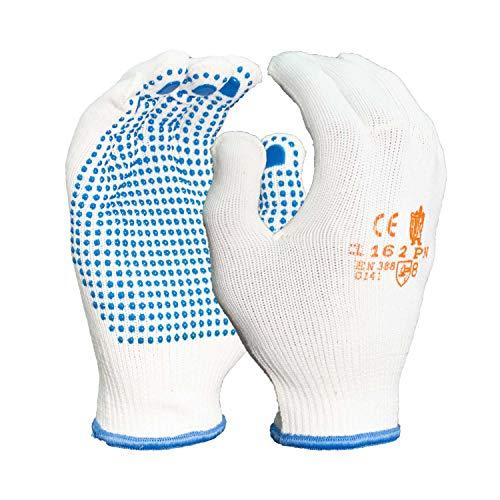 Arbeitshandschuhe aus Baumwolle mit Noppen Schutzhandschuhe mit Grip für Montage Umzug und Lagerarbeiten, Baumwollhandschuhe EN 388 Gr. 8 (12 Paar)