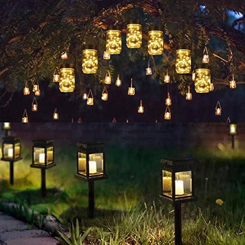 GIGALUMI 6 Pack 30 Led Hanging Solar Mason Jar Lid Lights & 8 Pack Solar Hanging Lantern Outdoor for Garden,Patio, Lawn, Deck, Umbrella, Tent, Tree,Yard,Driveway