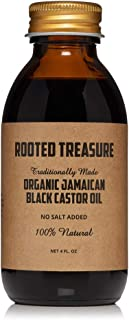 Organic Pure Jamaican Black Castor Oil By Rooted Treasure 4oz: 100% Natural No Salt or added preservatives For Natural Hair Growth, Eyebrow Growth, Beard Growth - Arthritis treatment, Eczema Relief